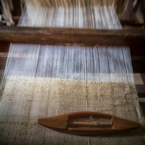 fabric on the loom