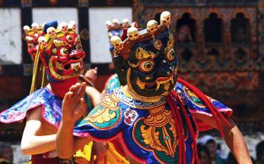 Masked Monks Dance at Festival