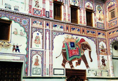 Fresco painted wall Jaisalmer