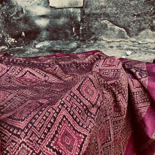 Ikat Fabric draped against the Angor Wat Temple Complex