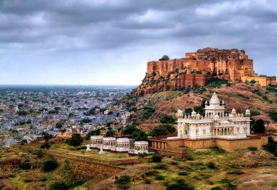 Looking at the Fort and jaswant thada jodhpur rajasthan india